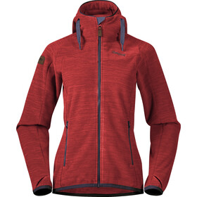 Bergans Hareid Fleece Jacket Women red melange/solid dark grey